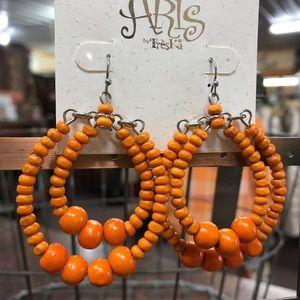 New Orange Beaded Treska Earrings